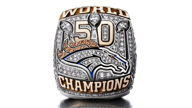 The Super Bowl ring given to the Denver Broncos for winning Super Bowl L (50). It's one of the rings made by Jostens, the Minneapolis company that is also creating this year's ring. (Charles Masters / NFL)