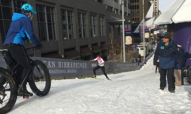 The Loppet Trail is a snow-covered span over Ninth Street, seen on Friday, Jan. 26, 2018, lets you try (or watch) cross-country skiing, fat-tire biking or snow tubling at Super Bowl Live on the Nicollet Mall through Feb. 4. ( Kathy Berdan / Pioneer Press)