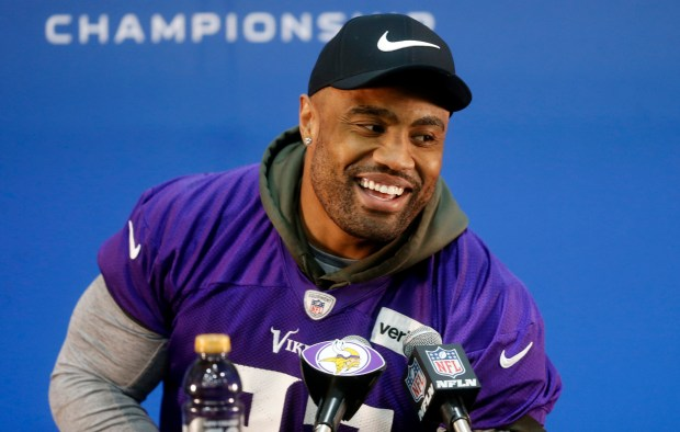 Minnesota Vikings defensive end Everson Griffen addresses the media during an NFL football news conference Wednesday, Jan. 17, 2018 in Eden Prairie, Minn. The Vikings face the Philadelphia Eagles in the NFC championship on Sunday in Philadelphia. (AP Photo/Jim Mone)