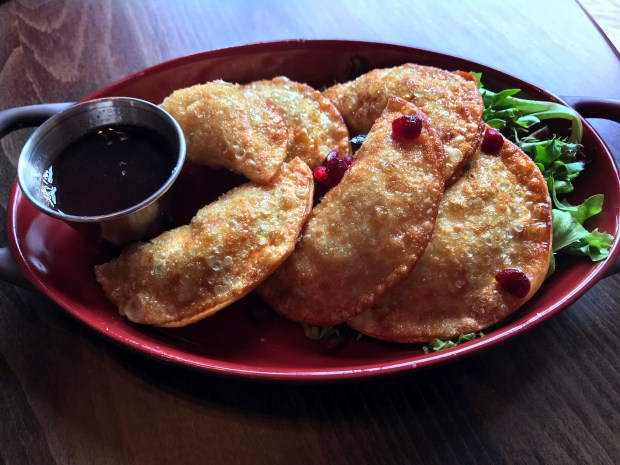 Duck bacon wontons at Brick & Bourbon in Stillwater. Photographed Feb. 20, 2018. (Nancy Ngo / Pioneer Press)