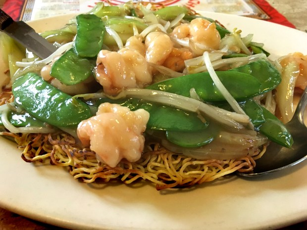 Undated photo, circa Nov. 2017, of Cantonese fried noodles with shrimp at Golden Chow Mein in St. Paul. The restaurant has been operating on St. Paul's West Seventh Street for more than 30 years. (Jess Fleming / Pioneer Press)