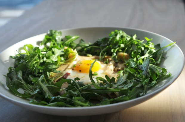 Crepe Galette is served at breakfast with buckwheat crepe with egg, prosciutto, gruyere and arugula for $13 at the Salty Tart in the old Heartland building at 589 E. 5th Street in St. Paul. The restaurant is open for breakfast and lunch every day and is run by Michelle Gayer, owner and chef. (Ginger Pinson / Pioneer Press)