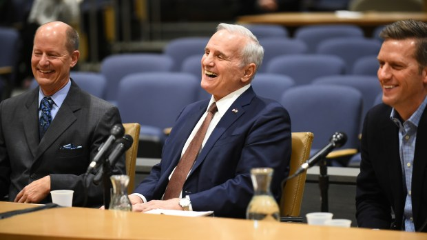 Gov. Mark Dayton, center, shares a with laugh Senate Majority Leader Paul Gazelka, left, and House Speaker Kurt Daudt with during a question and answer session on the upcoming Legislative session at the Minnesota State Senate Building on Tuesday, Feb, 13, 2018. The event also featured House Minority Leader Melissa Hortman and Senate Minority Leader Tom Bakk. (John Autey / Pioneer Press)