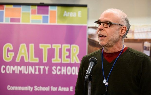 Nick Faber, president of the St. Paul Federation of Teachers, talks about the negotiated contract with St. Paul Public Schools at Galtier Elementary School on Feb. 12, 2018. (John Autey / Pioneer Press)