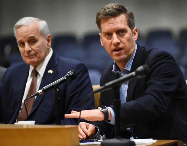 Minnesota House Speaker Kurt Daudt, right, answers a question as Gov. Mark Dayton listens during a question and answer session on the upcoming Legislative session at the Minnesota State Senate Building on Tuesday, Feb, 13, 2018. (John Autey/ Pioneer Press)