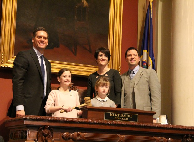 Newly elected Rep. Jeremy Munson, R-Lake Crystal, right, and his family pose for a photo with House Speaker Kurt Daudt, left, at the State Capitol in St. Paul on Tuesday, Feb. 20, 2018. Munson won a Feb. 12 special election for House District 23B which includes portions of parts of Blue Earth, Le Sueur, Waseca, and Watonwan counties. (Christopher Magan / Pioneer Press)