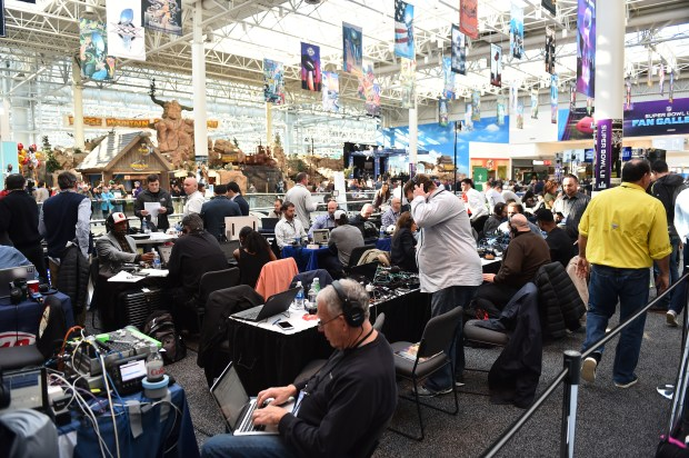 """Hundreds of radio journalist gather in """"Radio Row"""" at the Mall of America in Bloomington on Wednesday Jan. 31, 2018. The area near the 3rd floor North Food Court provides a locations for local, national and international media outlets to broadcast from and for fans and the just curious to watch. (Pioneer Press / John Autey)"""
