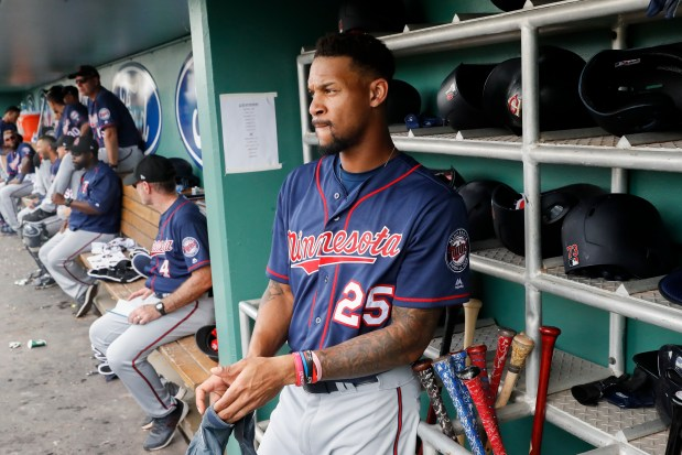 Minnesota Twins' Byron Buxton prepares to bat in the second inning of a spring baseball exhibition game against the Boston Red Sox, Friday, Feb. 23, 2018, in Fort Myers, Fla. (AP Photo/John Minchillo)