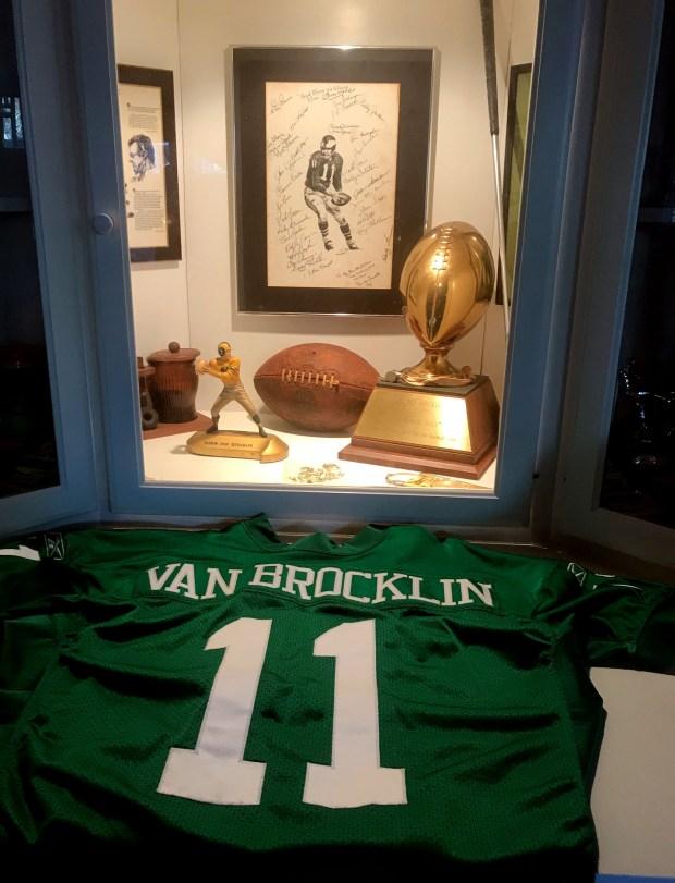 Norm Van Brocklin memorabilia at the Atlanta home of his daughter, Karen Vanderyt on Feb. 5, 2018. (Courtesy of Karen Vanderyt)