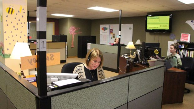 Crisis Connection counselors answer calls and provide resources for clients in their Richfield call center office. (Callie Schmidt / Pioneer Press)