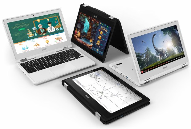 Acer's low-cost Spin 11 is one of many Web-centric Chromebook laptops that are popular in schools. With a 360-degree touchscreen hinge, the Spin can be twisted into a variety of configurations. (Acer)