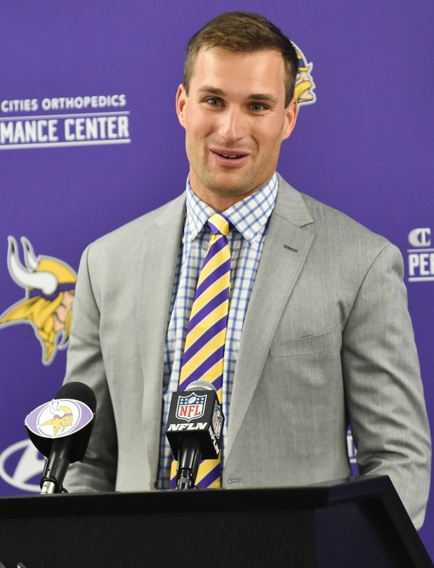 Kirk Cousins answers questions after being introduced as the new Minnesota Vikings quarterback at a press conference at Twins Cities Orthopedic Performance Center in Eagan on Thursday, March 15, 2018. (John Autey / Pioneer Press)