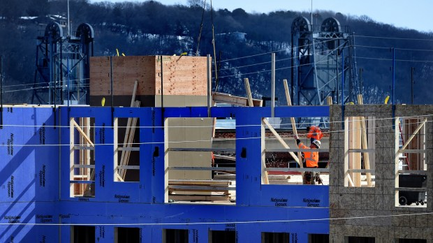 Construction continues on a hotel on the north end of Main Street in Stillwater on Wednesday, Feb. 28, 2018. The Crosby, a 64-room luxury hotel, will include a restaurant and cafe. (Jean Pieri / Pioneer Press)
