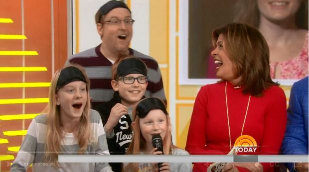 Sarah Levoir's family reacts to seeing her makeover for the first time on the Today Show the morning of Thursday, March 2018. (Screenshot of Today Show)