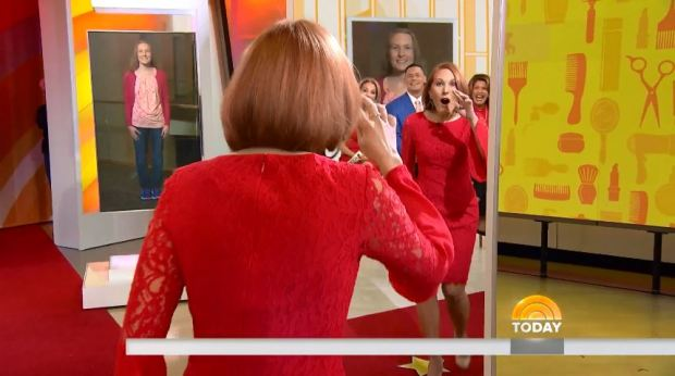 Sarah Levoir, of Farmington, sees her makeover for the first time on the Today Show Thursday, March 29, 2018. (Screenshot of Today Show)