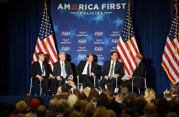 "From left, U.S. Rep. Erik Paulsen, U.S. Rep. Tom Emmer, U.S. Rep. Jason Lewis, and Mike Lindell, CEO of MyPillow, Inc. are interviewed before Vice President Mike Pence delivers keynote remarks at an American First Policies ""Tax Cuts to Put America First"" event in Minneapolis Wednesday, March 28, 2018. (Jean Pieri / Pioneer Press)"