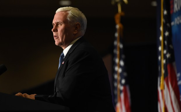 "Vice President Mike Pence delivers keynote remarks at an American First Policies ""Tax Cuts to Put America First"" event in Minneapolis Wednesday, March 28, 2018. (Jean Pieri / Pioneer Press)"