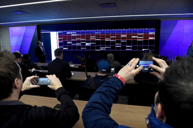 Minnesota Vikings general manager Rick Spielman talks about the draft room in the new Twin Cities Orthopedics Performance Center in Eagan on Friday, March 9, 2018. (Jean Pieri / Pioneer Press)