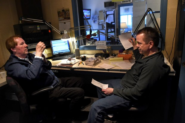 """After finishing the """"All Request and Dedication Show"""" on Thursday, March 15, 2018, host Stan Turner, left, and his sidekick Bob """"Bobby J"""" Jurek review the show and make plans for the next day's at KLBB-1220 radio station in downtown Stillwater. (Jean Pieri / Pioneer Press)"""