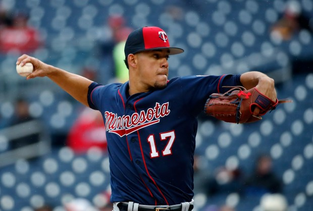 Minnesota Twins starting pitcher Jose Berrios throws during the third inning of a spring exhibition baseball game against the Washington Nationals at Nationals Park, Tuesday, March 27, 2018, in Washington. (AP Photo/Alex Brandon)