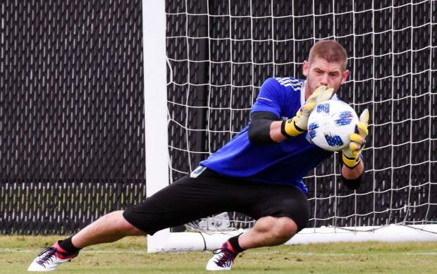 Minnesota United goalkeeper Matt Lampson dives to make a save during preseason preparations in Melbourne, Fla., in February 2018. Lampson, a cancer survivor, has started a non-profit that diehard Minnesota United fans plan to partner with this season. (Courtesy of Minnesota United)