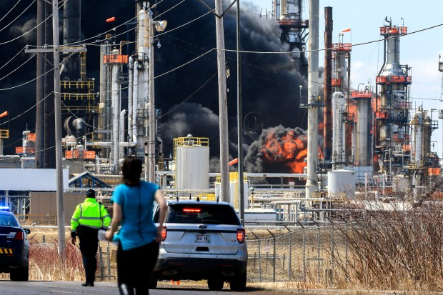 A large fireball erupts during a series of fires and explosions at the Husky Energy refinery in Superior, Wis. Thursday, April 26, 2018. (Clint Austin / Duluth News Tribune)