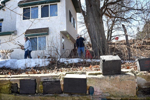 Burnell, right, and Sue Brown at their house in White Bear Lake on Wedesday, April 25, 2018. The basement walls, retaining walls and old cabin foundation of their home are poured concrete, encasing old lead batteries. (Jean Pieri / Pioneer Press)