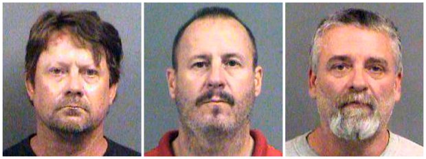 This combination of Oct. 14, 2016, file booking photos provided by the Sedgwick County Sheriff's Office in Wichita, Kan., shows from left, Patrick Stein, Curtis Allen and Gavin Wright, three members of a Kansas militia group who were charged with plotting to bomb an apartment building filled with Somali immigrants in Garden City, Kan. The jury in their trial returns to the courtroom on Tuesday, April 17, 2018, to get final instructions and to hear arguments before getting the case for deliberation. (Sedgwick County Sheriff's Office via AP)