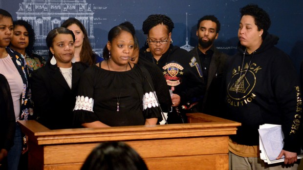 DeClara Tripp, a Ramsey County mother, discusses what she called the unfair removal of one of her children from her custody during a news conference Tuesday, April 10, 2018 at the state Capitol in St. Paul in support of legislation that would create new oversight of child protective services and new protections for black families who are disproportionately in the system. (Christopher Magan / Pioneer Press)