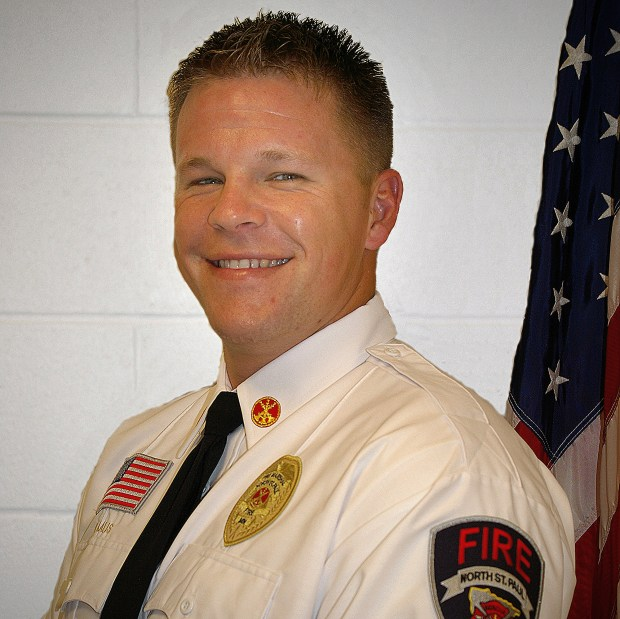 North St. Paul Assistant Fire Chief Dustin Kalis is shown in an undated courtesy photo. During a fire in North St. Paul on April 22, 2018, a man dropped his baby down from a second-story balcony, and Kalis caught her, rescuing the baby from the fire and then coaching her father down. (Courtesy of Dustin Kalis)