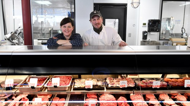Third-generation owners Melissa and Billy Hagberg at the meat counter of their Hagberg Country Market in Lake Elmo on Friday, April 27, 2018. They recently completed a renovation, and are now displaying items from the store's original location on Lake Elmo Avenue. They will be celebrating with an all-day event May 6, with musicians and giveaways. (John Autey / Pioneer Press)