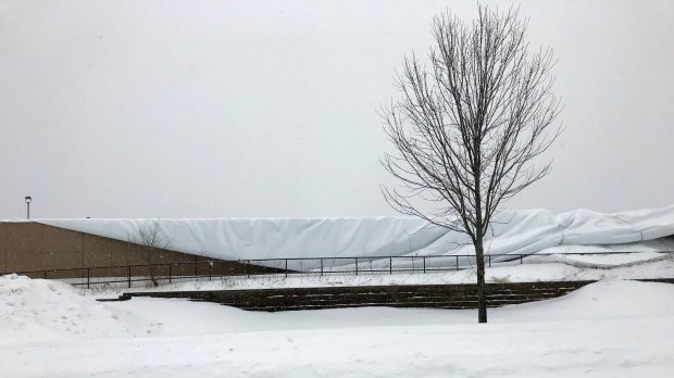 The dome at the Vadnais Heights Sports Center collapsed early Sunday, April 15, 2018, from the accumulation of heavy snow. (Courtesy of Ramsey County