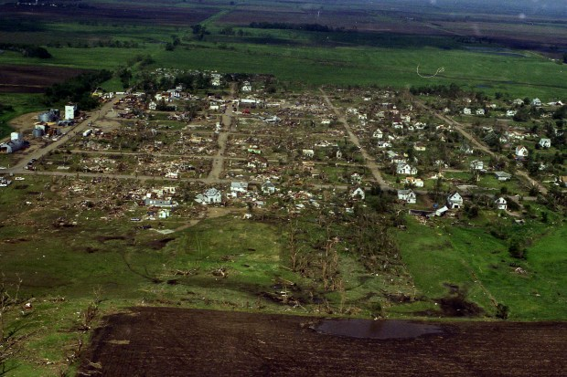 Aerial footage of the damage caused by the May 30, 1998 tornado that struck Spencer. (Republic file photo)