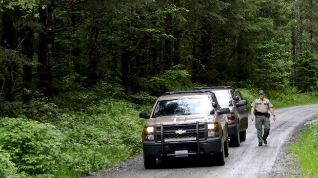 Washington State Fish and Wildlife Police leave the scene on a remote King County road near the site of a fatal cougar attack Saturday May 19, 2018, in East King County, Wash. (Alan Berner/The Seattle Times via AP)