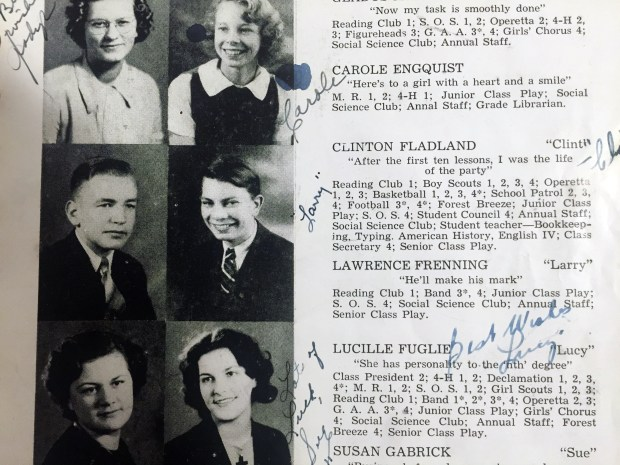 A page from a Forest Lake High School yearbook features Clint Fladland, who graduated from the school in 1938. Fladland, 96, of St. Cloud, who served as a fighter pilot during World War II, recently received a Ranger Award from the school. (Courtesy photo)