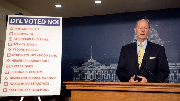 Minnesota Senate Majority Leader Paul Gazelka, R-Nisswa, discusses his disappointment that Democratic Gov. Mark Dayton has promised to veto a tax overhaul that passed Wednesday, May 16, 2018 at the State Capitol in St. Paul. Gazelka was also frustrated that no Democrat voted for a Republican bill to borrow $825 million to improve state infrastructure. (Christopher Magan / Pioneer Press)
