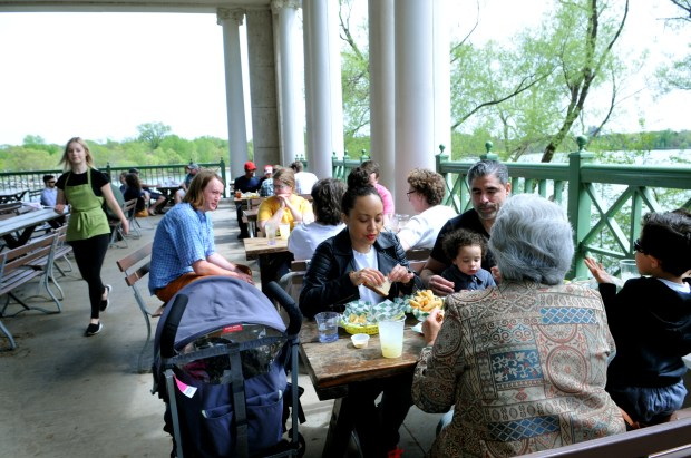 The Montane family from Savage enjoys the outdoor patio at Spring Cafe at Como Lakeside Pavilion on Sunday, May 13, 2018. (Ginger Pinson / Pioneer Press)
