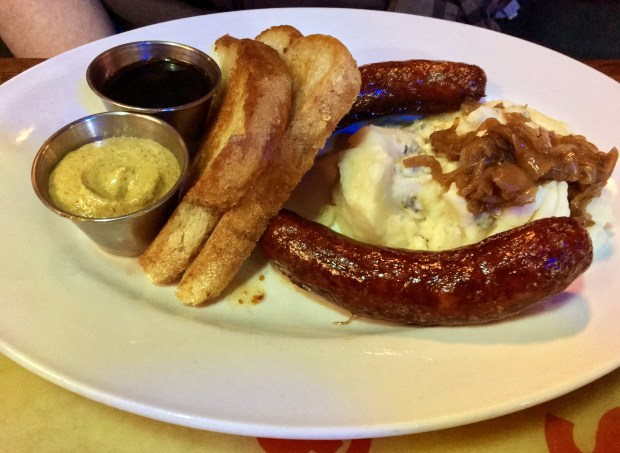 Bangers and mash at O'Malley's in Woodbury. (Jess Fleming / Pioneer Press)