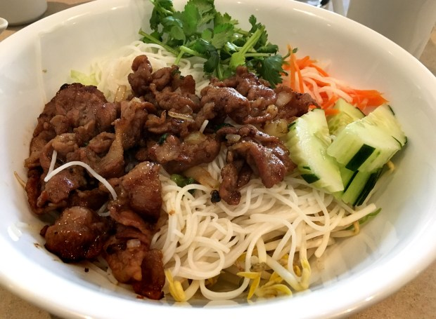 Bun salad with pork from Thanh Truc in Woodbury. (Jess Fleming / Pioneer Press)