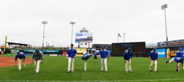 St. Paul Saints players stretch before the start of practice at CHS Field in St. Paul on Wednesday, May 9, 2018. The Saints are getting ready for their first game which is against the Gary Railcats on Friday, May 18th and their home opener against the Chicago Dogs, on Monday, May 21st. (John Autey / Pioneer Press)