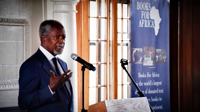 Kofi Annan, former secretary-general of the United Nations, on May 7, 2018, speaks at a reception celebrating the 30th anniversary of Books for Africa, a St. Paul-based nonprofit that collects and ships books to that continent. (Nick Woltman / Pioneer Press)