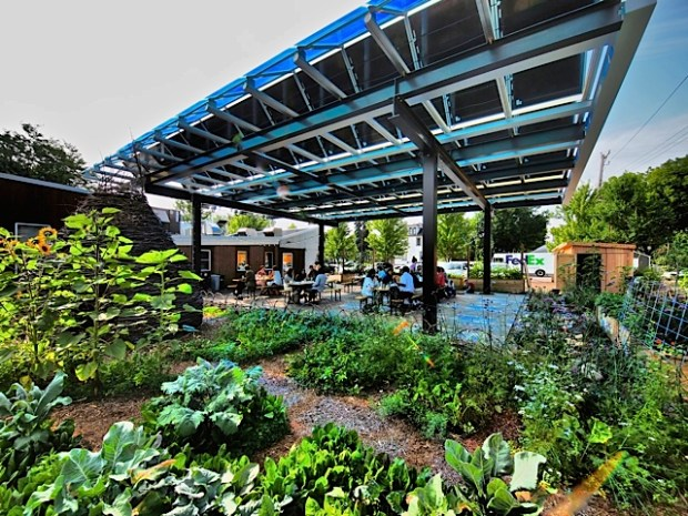 Solar panels and an urban garden are part of the landscape when dining on the deck at Tiny Diner in Minneapolis. (Courtesy Bartmann Group)