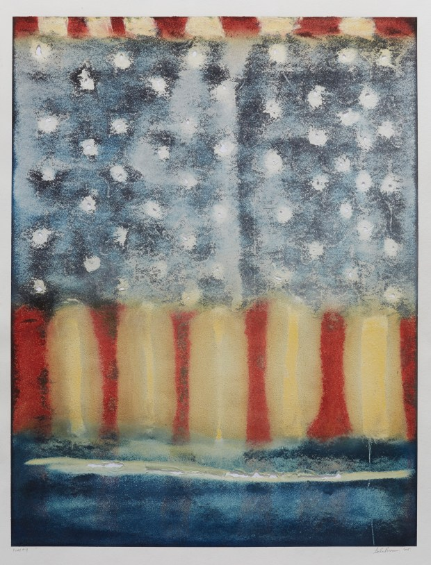 """Justice Flag 9,"" by Galen A. Brown, mixed media on paper, 2005"
