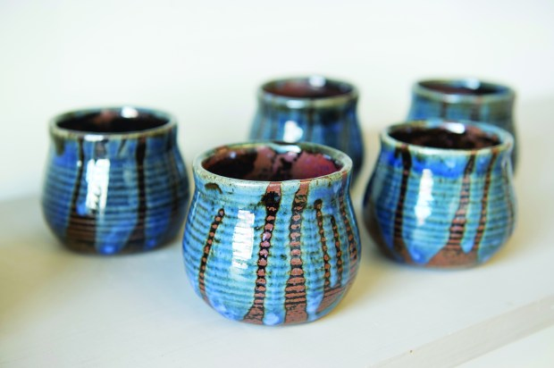 These wine goblets can be found at Mississippi Clay Works features handmade pottery that includes berry bowls, bread bakers, coffee mugs, honey pots, and carafes are part of the line up Thursday, April 19, 2018. (Special to the Pioneer Press: Craig Lassig)