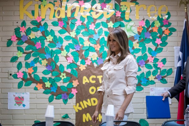 First lady Melania Trump visits the Upbring New Hope Children Center run by the Lutheran Social Services of the South in McAllen, Texas, Thursday, June 21, 2018. (AP Photo/Andrew Harnik)