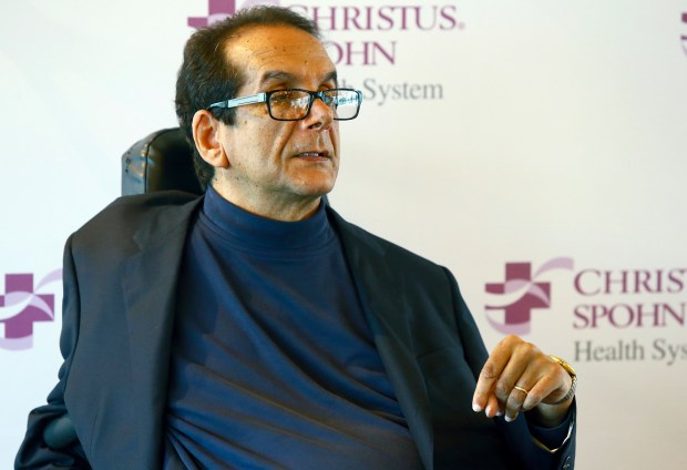 In this March 31, 2015, photo, Charles Krauthammer talks about getting into politics during a news conference in Corpus Christi, Texas. The conservative writer and pundit Krauthammer has died. His death was announced Thursday, June 21, 2018, by two media organizations that employed him, Fox News Channel and The Washington Post. He was 68. (Gabe Hernandez/Corpus Christi Caller-Times via AP)