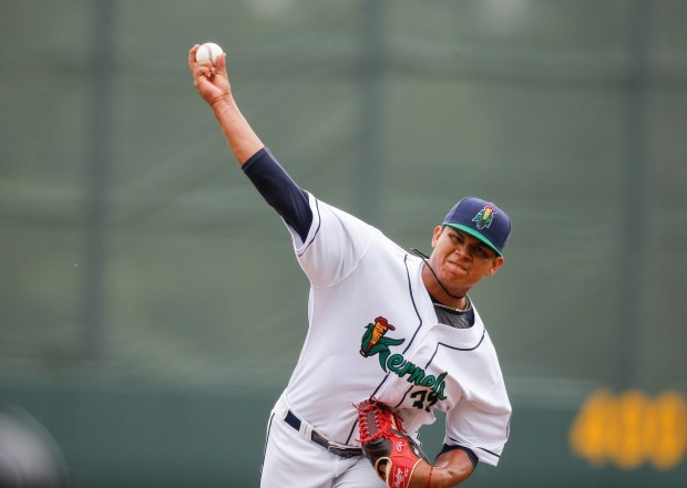Cedar Rapids Kernels pitcher Brusdar Graterol delivers a pitch during the top of the fourth inning of their Midwest League baseball game against the Beloit Snappers at Veterans Memorial Stadium in southwest Cedar Rapids, Iowa, on Wednesday, June 6, 2018. (Jim SlosiarekThe Gazette)