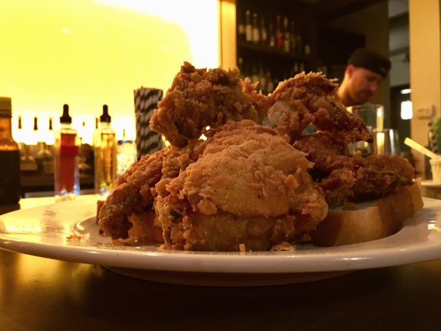 Fried chicken tastes best at the bar at Revival in St. Paul. Shot in May 2018 (Jess Fleming / Pioneer Press)