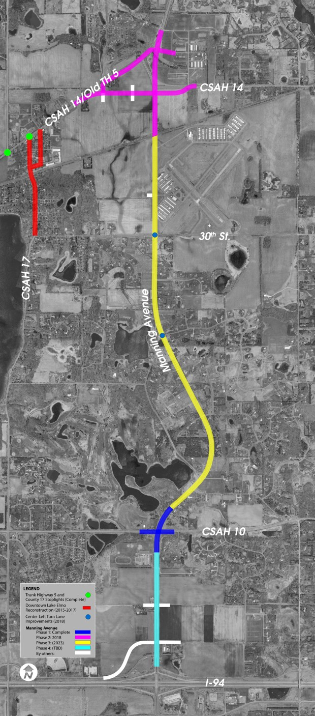Four phases of improvements along Manning Avenue are planned by Washington County. The second phase is underway now. (Courtesy of Washington County)