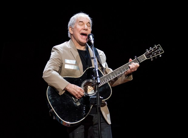 Paul Simon kicks off his Homeward Bound: The Farewell Tour on May 16 in Vancouver, British Columbia. . (Jimmy Jeong/The Canadian Press via AP)